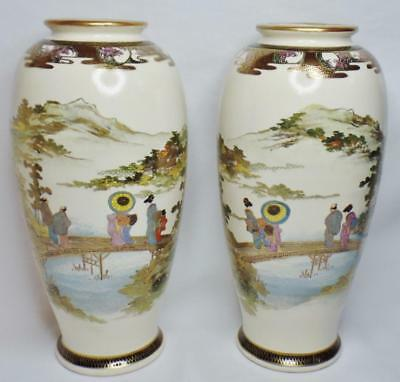 "Pair 2 Antique Japanese Meiji Satsuma Shimazu Signed Landscape Figures 10"" Vases"