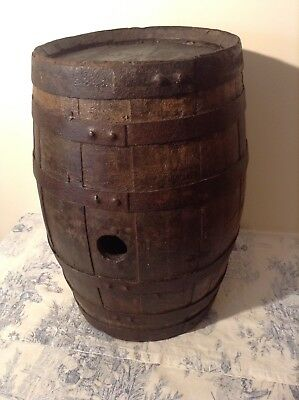 Vintage French Large Wooden Wine, Cider, Beer, Ale Barrel with Iron Straps (2871