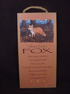 ADVICE FROM A FOX wood INSPIRATIONAL SIGN wall hanging PLAQUE nature animal USA