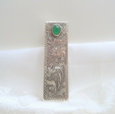 Vintage Deco Lipstick Holder With Mirror 800 Silver Engraved Design Green Cab