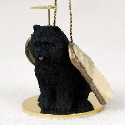 CHOW black DOG ANGEL Ornament HAND PAINTED Resin FIGURINE Christmas COLLECTIBLE