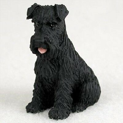 SCHNAUZER black uncropped TiNY FIGURINE Dog MINIATURE Sm Mini resin HAND PAINTED