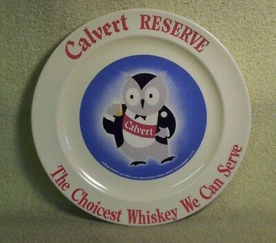"""Vintage """"CALVERT RESERVE THE CHOICEST WHISKEY WE CAN SERVE"""" CERAMIC PLATE"""