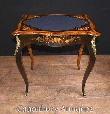 French Empire Games Table - Antique Card Tables Floral Marquetry