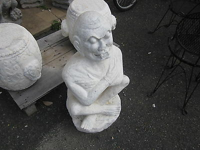 Vintage Chinese White Stone or Marble Demon Guardian sitting Crosslegged, heavy