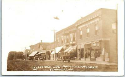 """Fennimore, Wisconsin RPPC Real Photo Postcard """"West from Williams Corner"""" 1910"""