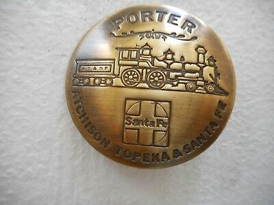 Atchison Topeka Santa Fe RR Railroad Porter Solid Brass Pinback Railway Badge