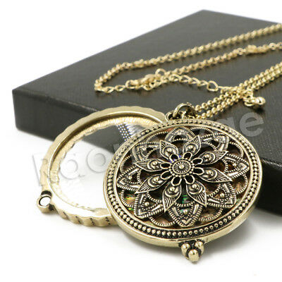 Antique Chain Ancient Mandala 5X Magnifying Glass Locket Pendant Necklace
