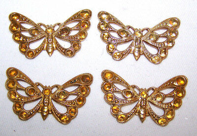 """VINTAGE CZECH RAW BRASS STAMPING filigree BUTTERFLY 4 PIECES /1-1/2"""" large"""