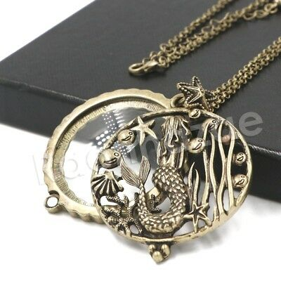 Antique Vintage Starry Mermaid 5X Magnifying Glass Locket Pendant Necklace