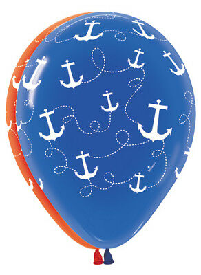 "12 Nautical Anchor Print 11"" Latex Balloons Red & Blue W/White Design  Qualatex"
