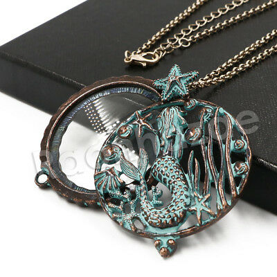 Patina Antique Vintage Mermaid 5X Magnifying Glass Locket Pendant Necklace