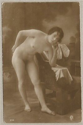 Nude French RPPC Real Photo Postcard Nonplussed Risqué Jazz-Age Flapper GP 1920s