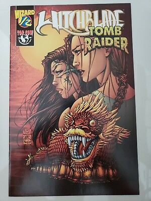 WITCHBLADE / TOMB RAIDER #1/2 (1999) TOP COW COMICS/WIZARD SPECIAL with COA! NM