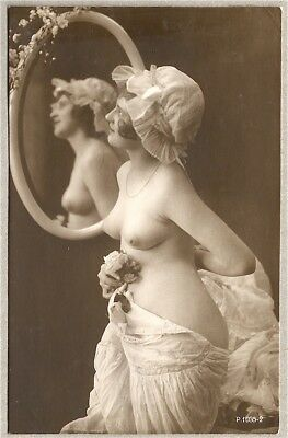Nude French RPPC Real Photo Postcard Risqué Mirror Boudoir Cap Seductive 1900s