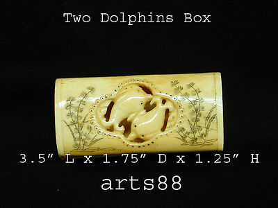 Hand Carved Dolphin Long Box