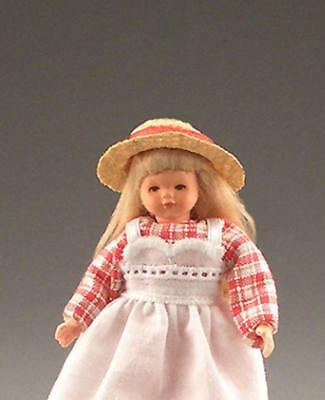 Dollhouse Dressed Girl Caco DHS01282 Flexible Crm Pnk Flwrs Pnk Bodice Miniature