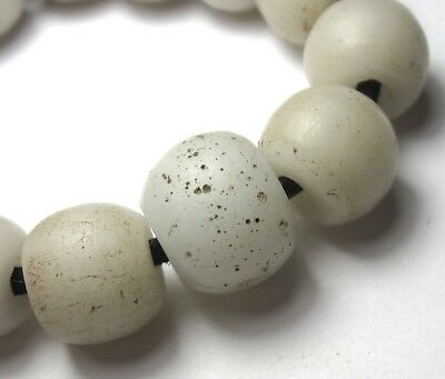 17 RARE OLD AMAZING CLEAR OVAL BOHEMIAN ANTIQUE BEADS AFRICAN TRADE