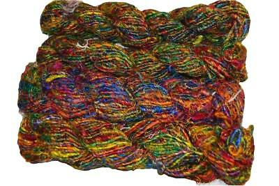 100g 300yrds Fine Premium Recycled Himalayan Silk Yarn red green free shipping