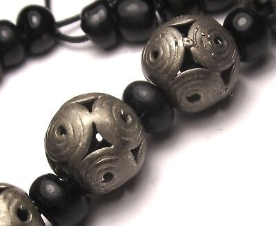 5 Rare Amazing Old/Ancient Afghanistan Silver Dowry Beads W/Padre Spacers @