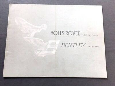 1956 1957 Rolls Royce Bentley Original Sales Brochure Catalog - Silver Cloud S1