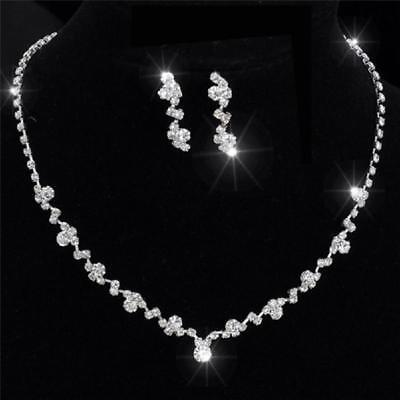 Bridal Wedding Jewelry Set Crystal Rhinestone Diamante Necklace Earrings Party Q