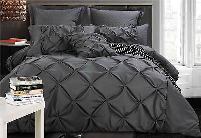 Charcoal Grey Quilt Cover set Diamond Pintuck Duvet Cover Set / Cushion Covers