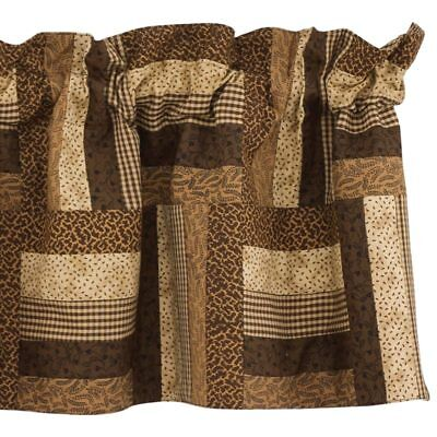 Shades Of Brown Lined Patchwork Valance