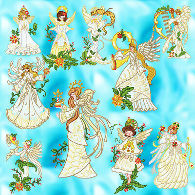 White Christmas Angels 10  Machine Embroidery Designs Cd 3 Sizes
