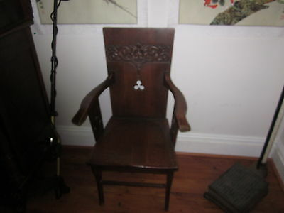 Victorian Quarter-sawn Oak Green Man / Demon Throne Chair