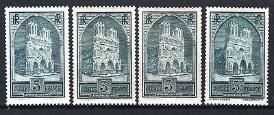 """FRANCE STAMP YVERT N° 259/259c """" CATHEDRALE REIMS 3F 4 TYPES"""" NEUFS xx LUXE T537"""