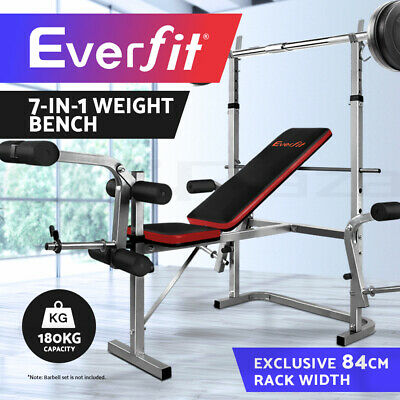 Everfit Multi-Station Weight Bench Press Fitness Weights Equipment Incline Grey