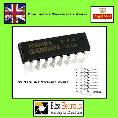 5 x ULN2803A Darlington Driver TRANSISTOR ARRAY 8 NPN Toshiba UK Seller