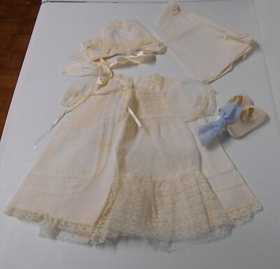5 Piece Set Ivory Baby Dress Bed Jacket Cap Undershirt Shoes 1960's Vtge CB7