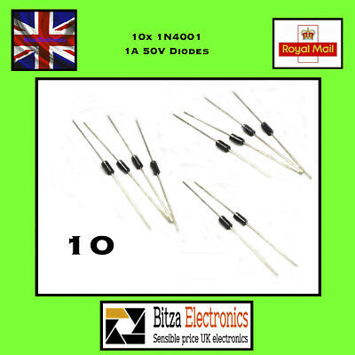 10 x 1N4001 50v 1A General Purpose Diodes IN4001 DO41 UK Seller