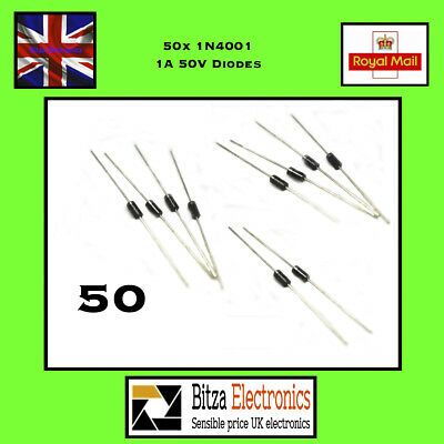 50 x 1N4001 50v 1A General Purpose Diodes IN4001 DO41 UK Seller