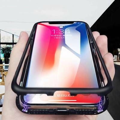 Luxury Magnetic Adsorption Metal Case For iPhone X 7 8 Plus Tempered Glass Cover