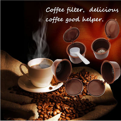 Reusable Refillable Coffee Capsule Cup Pods Spoon Filter For Dolce Gusto Nescafe