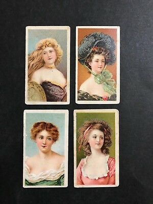 Cigarette Card Lot Of 4 American Tobacco Company 1903, Beauties, Stippled
