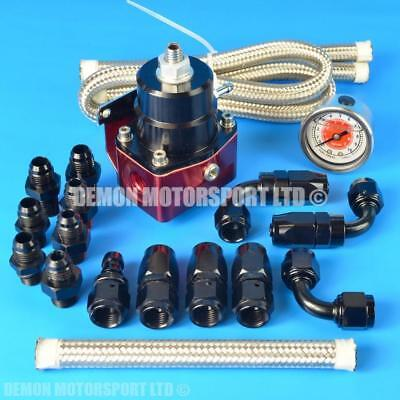 Adjustable Fuel Pressure Regulator Kit (100 psi / 7 Bar) Red & Black AN6 -6 6AN