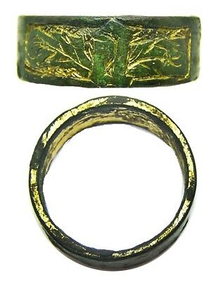 15th century Medieval Gold Gilded Finger Ring Initial Letter 'a' Size 9 1/4