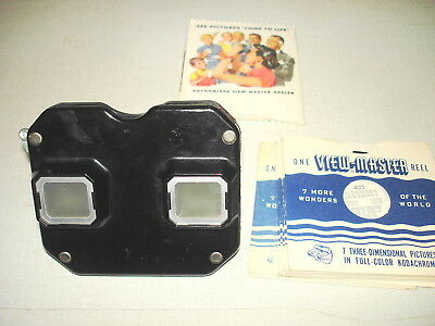 c1950s View-Master Model C Bakelite Stereoscope Viewer + 10 International Reels
