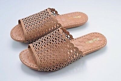 5ca325717248 Klub Nico Women s Brown Leather Flat Slides Sandals Size 38 EUR