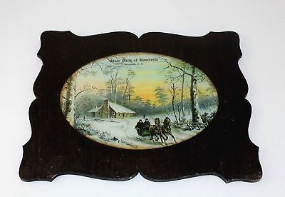 Antique State Bank Humboldt SD Advertising Framed Glass Picture Horses Sleigh