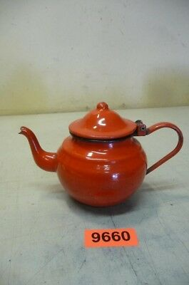 9660. Alte Emaille Email Teekanne Old Enamelware milk can
