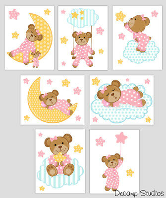 Teddy Bear Decal Baby Girl Nursery Wall Art Cloud Stars Moon Kids Room Stickers