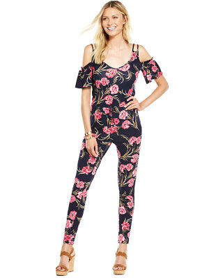 00e45e39a60 V BY VERY Cold Shoulder Tie Waist Jumpsuit in Navy Floral Size 16 ...