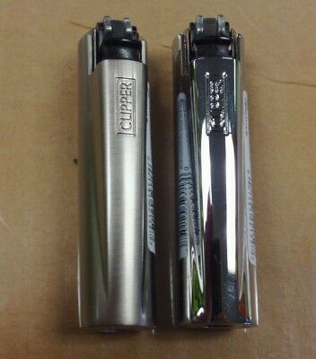 2 PACK OF MINI CLIPPER LIGHTER and CASE REFILLABLE SILVER (Dull and Shiny)