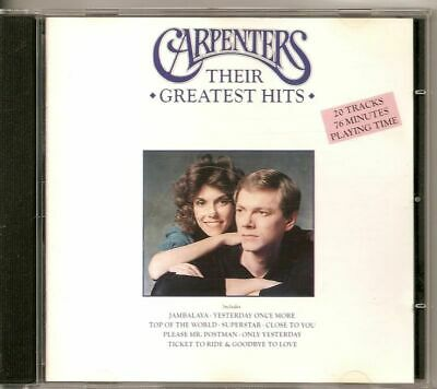 CARPENTERS Their Greatest Hits 1990 UK CD ALBUM 20 TRACKS freepost to the world