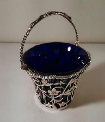 An Ornate Antique Silver Table Basket w. Blue Glass Liner : London 1903